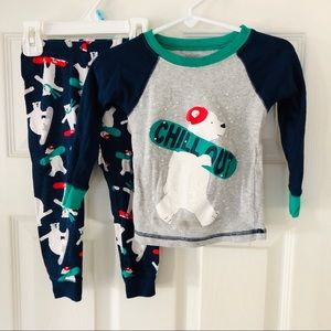Carters Snowboarding polar bear 18 month pajamas